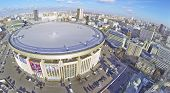 MOSCOW, RUSSIA - OCT 30, 2013:  (view from unmanned quadrocopter) Olympiysky Sports Complex. Olympic