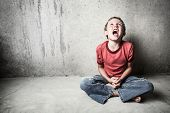 stock photo of yell  - Angry Child Yelling - JPG