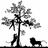 Editable vector silhouette of three men chased into a tree by a pair of lions with all figures as se