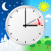 stock photo of daylight saving time  - vector illustration of a clock switch to summer time - JPG