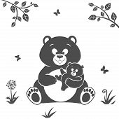 image of bear-cub  - Silhouette cute cartoon bear and baby bear - JPG