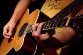 stock photo of acoustic guitar  - Acoustic Guitar performance - JPG