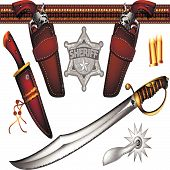picture of spurs  - set of cowboy weapons and accessories  - JPG