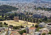 stock photo of olympian  - view from the Acropolis on the temple of Olympian Zeus Athens - JPG