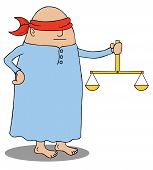 image of blindfolded man  - Illustration of a blindfolded man holding a scale - JPG