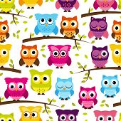 stock photo of owl eyes  - Seamless and Tileable Vector Owl Background Pattern - JPG