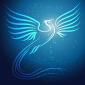 Image of shining abstract phoenix bird on blue background with stars.