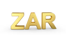 stock photo of zar  - Golden 3D ZAR currency shortcut isolated with clipping path - JPG