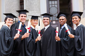 pic of professor  - group of young college graduates and professor at graduation - JPG