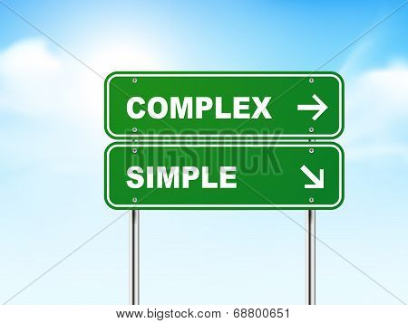 3D Road Sign With Complex And Simple