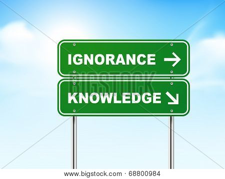3D Road Sign With Ignorance And Knowledge