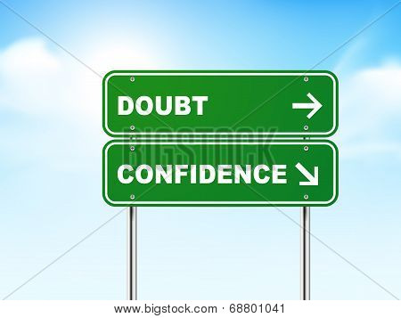 3D Road Sign With Doubt And Confidence