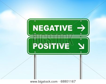 3D Road Sign With Negative And Positive