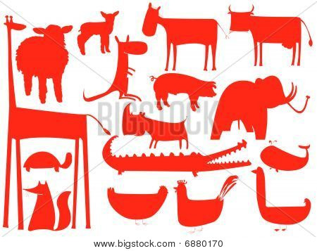 Animal Red Silhouettes Isolated On White Background