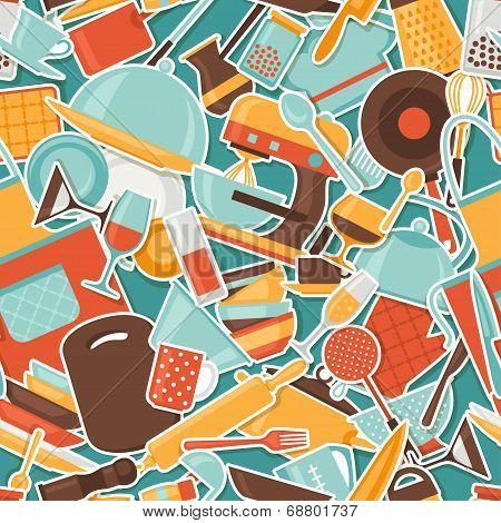 Seamless pattern with restaurant and kitchen utensils.