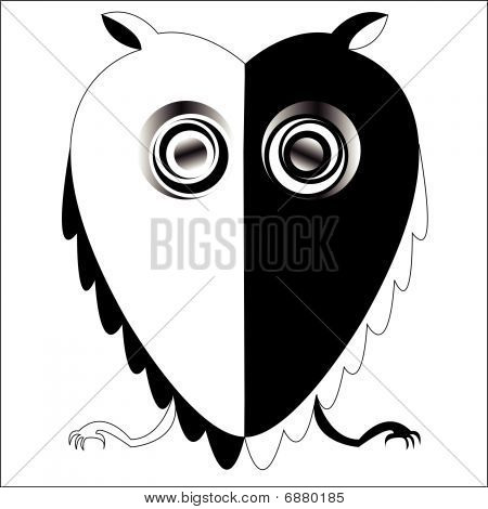Black And White Owl. black and white owl, abstract drawing; vector art illustration. download preview