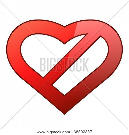 Abstract red heart shaped restriction sign isolated on white background.