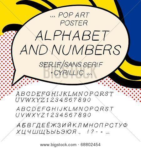 Comics pop art alphabet and numbers