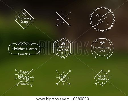 Thin Line Summer Camp Themed Badges