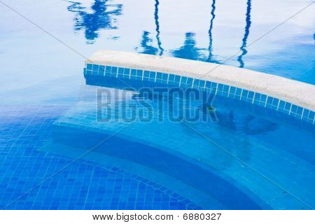 Blue Planches In The Pool With Water