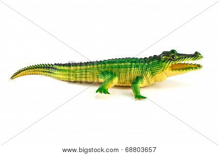 Green Crocodile Toy Isolated On White