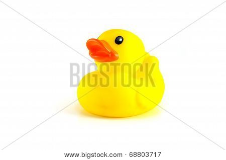 Yellow Rubber Duck Isolated On White Background Right Side