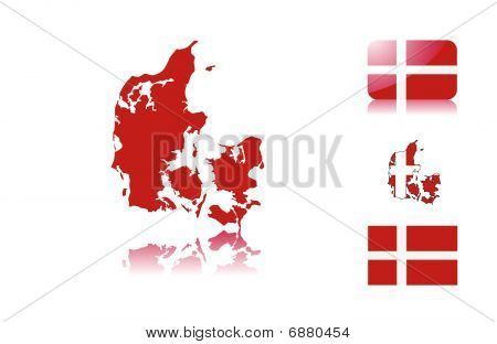 Danish map and flags