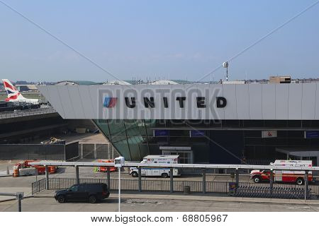 United Airlines Terminal 7 at John F Kennedy International Airport in New York