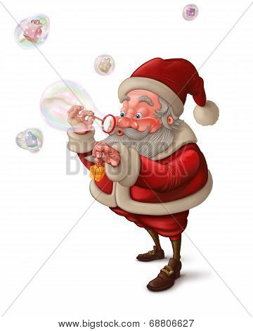 Santa Claus And The Bubbles Soap - White Background