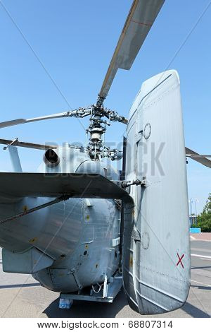 Attack helicopter rear view