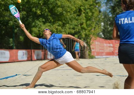 MOSCOW, RUSSIA - JULY 19, 2014: Woman double of Italy in the match against Russia during ITF Beach Tennis World Team Championship. Italy won in two sets