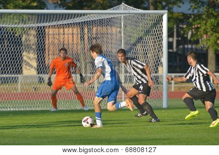 MOSCOW, RUSSIA - JULY 21, 2014: Match Dynamo, Moscow - PAOK, Greece during the Lev Yashin VTB Cup, the international tournament for U21 soccer teams. Dynamo won 3-2