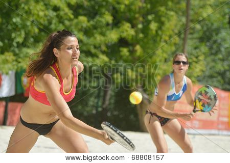 MOSCOW, RUSSIA - JULY 20, 2014: Women double of Spain in the match for the 5th place against Venezuela during ITF Beach Tennis World Team Championship. Spain won 2-0