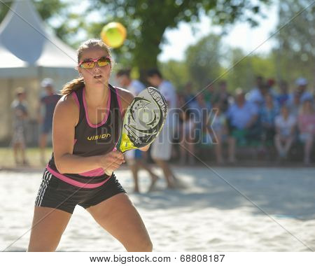 MOSCOW, RUSSIA - JULY 19, 2014: Dorothee Berreth of Germany in the match against Brazil during ITF Beach Tennis World Team Championship. Brazil won 2-1