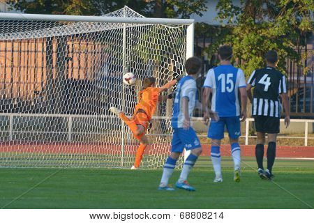 MOSCOW, RUSSIA - JULY 21, 2014: Decisive goal in the match Dynamo, Moscow - PAOK, Greece during the Lev Yashin VTB Cup, the international tournament for U21 soccer teams. Dynamo won 3-2