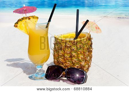 Enjoy Pineapple Cocktails On The Beach