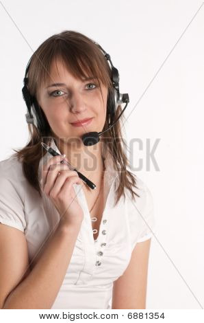 Closeup Portrait Of A Happy Young Call Centre Employee