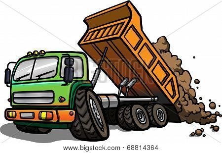 Cartoon Tipper Truck. Isolated