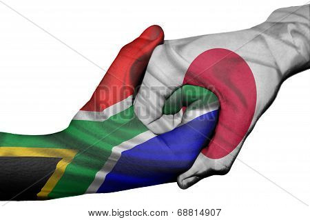 Handshake Between South Africa And Japan
