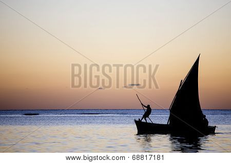 Boat on the lagoon in Mauritius island