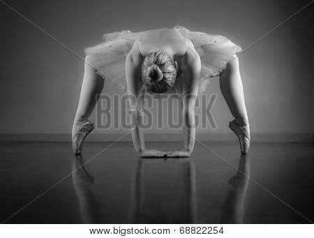 Graceful ballerina warming up in black and white in the ballet studio