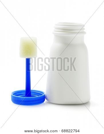 Plastic Bottle of Liquid Shoe Whitener with Applicator on White Background