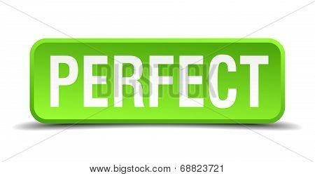 Perfect Green 3D Realistic Square Isolated Button