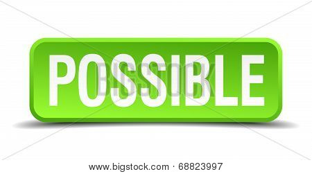 Possible Green 3D Realistic Square Isolated Button