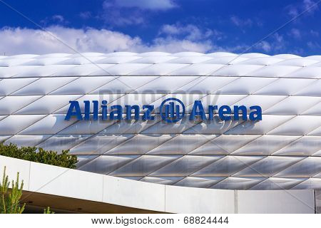 MUNICH, GERMANY - 19 JUNE 2014: Allianz Arena stadium in sunny day in Munich, Germany. The Allianz Arena is home football stadium for FC Bayern Munich with a 69,901 seating capacity.