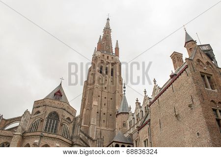 Old Church In Belgium Flanders City Bruges