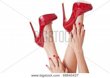 Sensual Woman In Red Stilettos