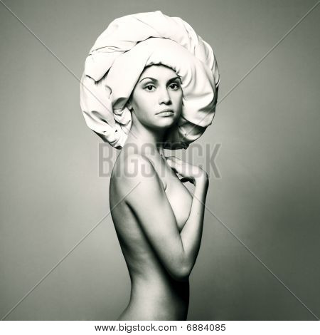 Nude Woman In Fashionable Turban