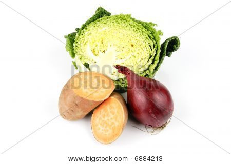 Half A Cabbage With Sweet Potato And Red Onion