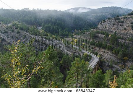Foggy mediterranean mountain landscape